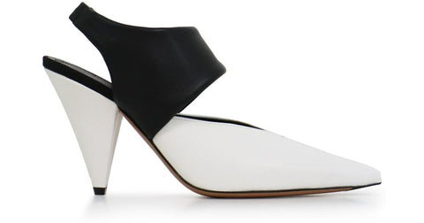 Celine V-CUT Slingback Cone Heel Black/White Leather Pointed Pumps