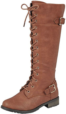 Forever Link Women's Strappy Lace-Up Knee High Combat Stacked Heel Boot Tan