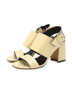 DRIES VAN NOTEN Leather sandals Yellow Block Heel Open Toie Dress Pumps
