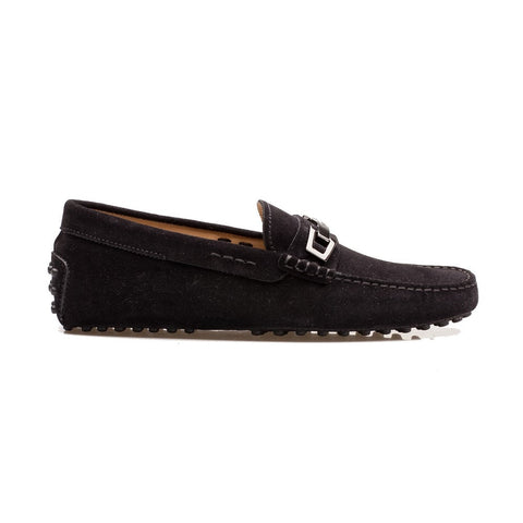 Tod's Marco Clamp Black Suede Silver Metal Driving Loafers