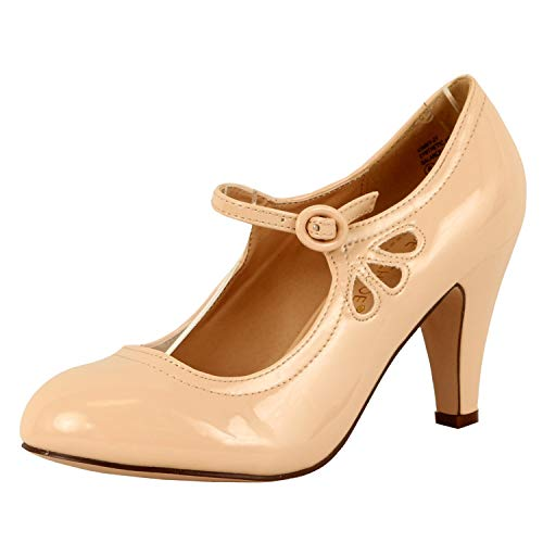 Chase & Chloe Women's Kimmy-21 Regular |Mary Jane | Mid Heel Shoes Nude Patent