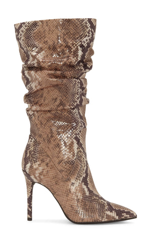 Jessica Simpson Womens Lamira Slouchy Stilettos Mid-Calf Boots TOTALLY TAUPE COMBO