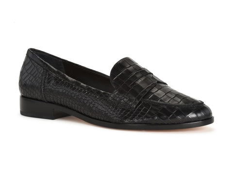 Schutz Dora Black Shiny Croco Embossed Leather Flat Penny Almond Toe Loafer