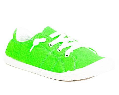 Forever Link Slip-On Comfort-01 Sneaker Neon Green Lace up Fashion Sneakers (7)