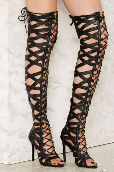 Lust For Life Psycho Leather Caged Lace Up Gladiator Sandal Thigh High Heel