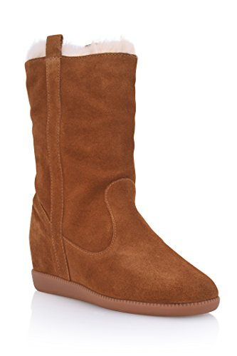 Schutz Women's Eloanah Chestnut Suede Rabbit Fur Lined Wedge Winter Boots