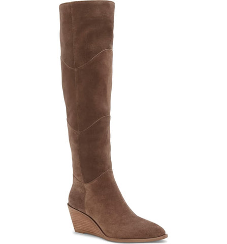1.State Kern Mink Chocolate Brown Suede Knee High Low Wedge Pointed Toe Boots