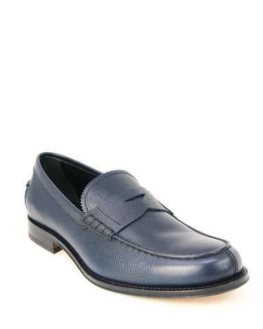 Tod's CUOIO Gommino Blue Leather Moccasins Loafers