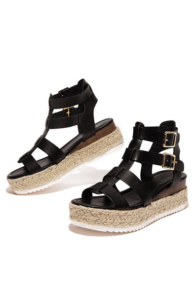 Soda Embassy Black Caged Espadrille Open Toe Platform Flatform Wedge Sandals