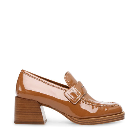 Steve Madden Women's Nyomi Patent Block Heel Loafers Camel Patent