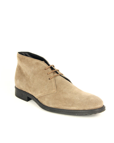 Tod's Men's Polacco Lace Up Oxfords Shoes Taupe Suede Boot