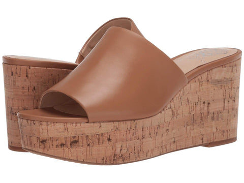 Vince Camuto Women's Gadgen Platform Wedge Slip On Slide Sandal SPICED SAND