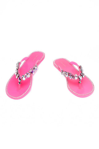 Cape Robbin WOMEN'S BELLAGIO JELLY SANDAL PINK JEWELED FLIP FLOP SANDALS