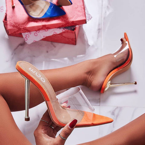 Lemonade KingKing Orange Transparent Open Toe Clear Stiletto Mule Sandal