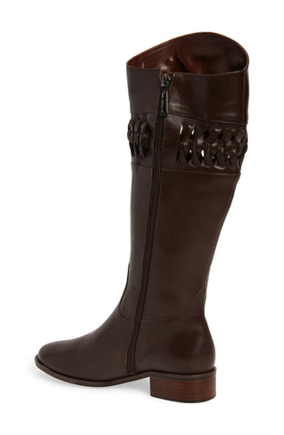 Klub Nico Zezette Woven Cafe Brown Calf Leather Knee High Equestrian Riding Boot