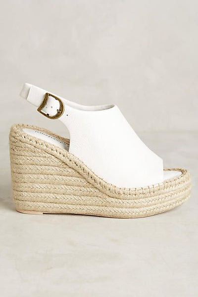 Jeffrey Campbell Isles Wedges White Pebble Leather Open Toe Sandals