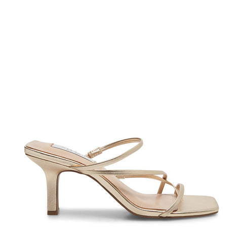 Steve Madden Women's Talie Strappy Open toe Heeled Sandal GOLD LEATHER