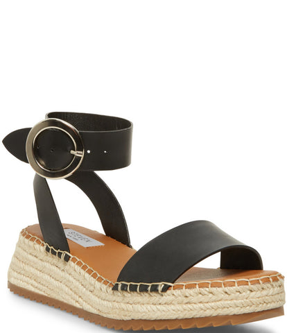 Steve Madden Tiny Black Leather Espadrille Wedge Platform Banded Flatform Sandals