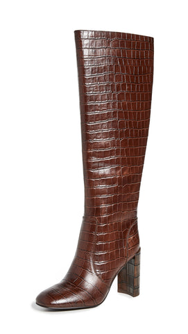 Jeffrey Campbell ENTUIT Chunky Heel Knee High Boot, BROWN CROCO