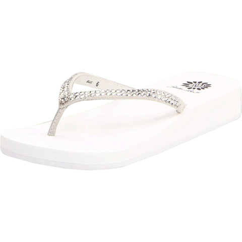 Yellow Box Jello Sandal Thong Flip Flop Wedge Rhinestone Sandals White
