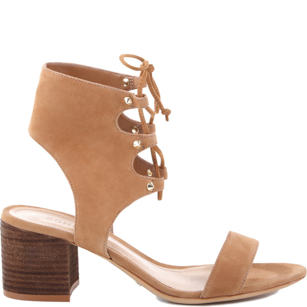 Schutz Darby Brownie Gladiator Suede Open Toe Block Heel Lace Up Ankle Sandal