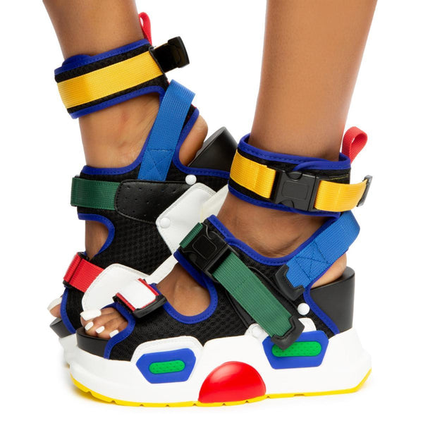 Anthony Wang Mulberry-01 Multi Sneaker Sporty Chunky Platform Wedge Sandal