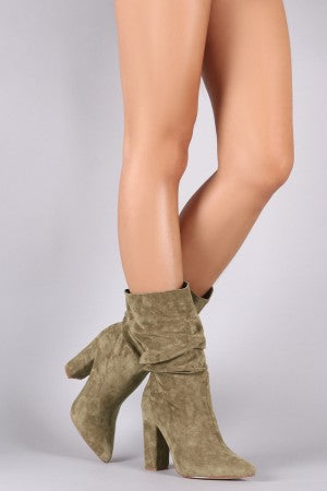 Cape Robbin Beautiful 64 Olive Pointy Toe Slouchy Mid Calf Chunky Heel Boots