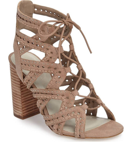 1.State Kayley Stone Nude Suede Caged Studded Lace Up Block Heel Open Toe Sandal