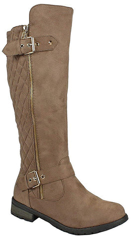 Forever Link Mango-23 Taupe Nubuck Knee High Riding Dress Boot