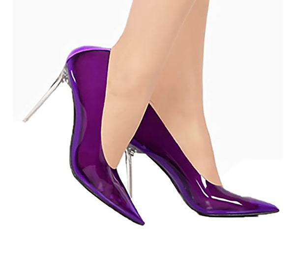 Cape Robbin Purple Tint Transparent Clear Pointed Fashion Stiletto Pumps