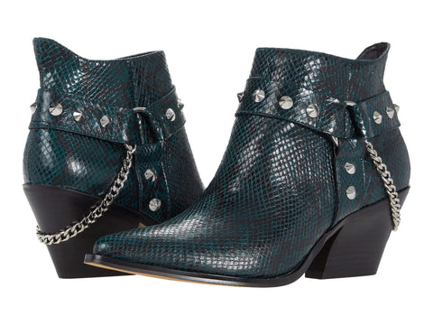 Jessica Simpson Women's Zayrie Studded Moto Bootie RAINFOREST GREEN