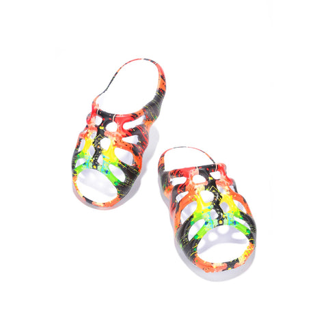 Cape Robbin Pond Flat Slip On Slides Sandals Paint Splatter Wedge Fashion Mule