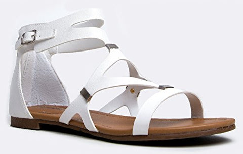 Breckelles Ruby-61 Gladiator Sandals, White Vegan Leather Gladiator