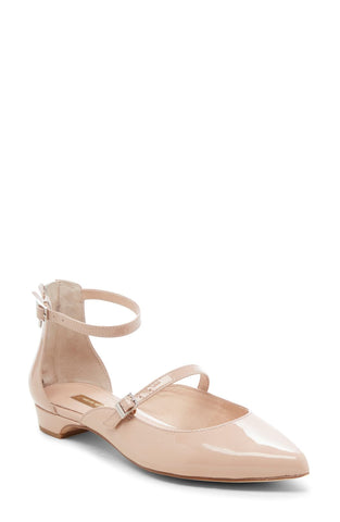 Louise et Cie Claire Ankle Strap breezy open sided pointed flat Begonia Nude