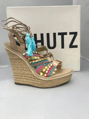 Schutz Mella Oyster Nude Multi Color Stone Blue Tassel Wrap Wedge Sandals