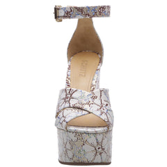 Schutz Serennas White Multi Super High Platform Wedge Sandals