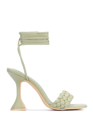 Cape Robbin Curve Tie Up Open Toe Pyramid Heel Sandals Pump SAGE