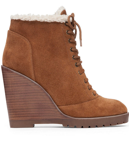 Jessica Simpson Women's Kaelo Ankle Bootie Canela Brown Suede Lace Up