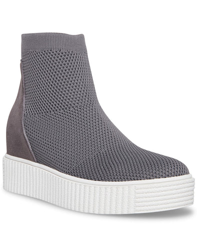 Steven By Steve Madden Carana Knit Round-toe Wedge Sneakers Grey
