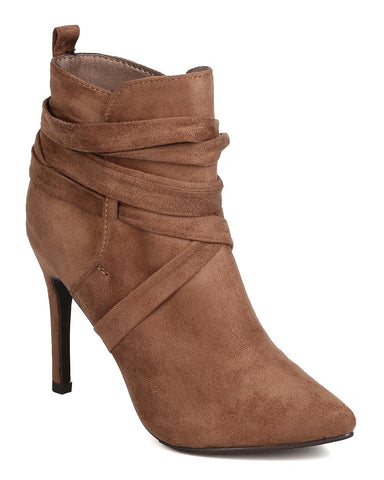 Breckelles Women Beverly-54 Faux Suede Pointy Toe Wraparound Stiletto Taupe Bootie