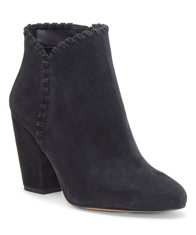1.State MYLO Womens Boot Black Suede Block Heel Round Toe Designer Ankle Booties