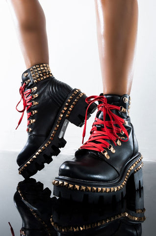 Cape Robbin Nia Platform Ankle Moto Combat Boots Black Red Lace Gold Stud