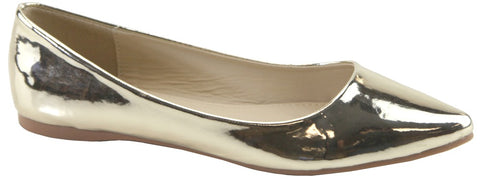 Bella Marie Womens Angie-18 Classic Gold Slip-on Pointy Toe Ballet Flat Shoes