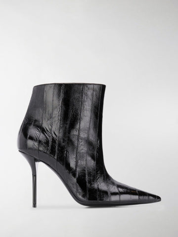 SAINT LAURENT Pierre booties Black Croco Leather High Heel Pointed Dress Boots