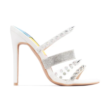 Cape Robbin Quatro White Silver Spike Open Toe Stiletto Heel Mule Sandal Pump