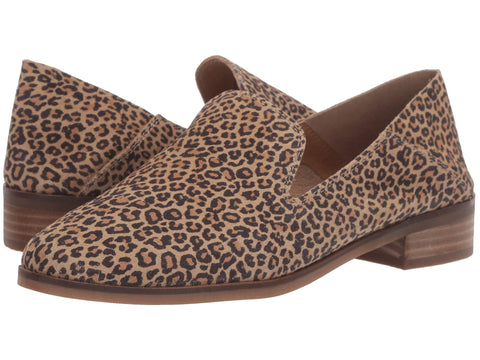 Lucky Brand Cahill Slip on Flat Loafer Shoes Eyelash Leopard Collapsable Mule