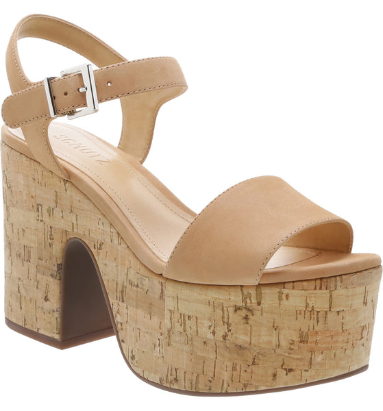 Schutz Glorya Honey Biege Ankle Buckle Open Toe Heeled Platform Sandal