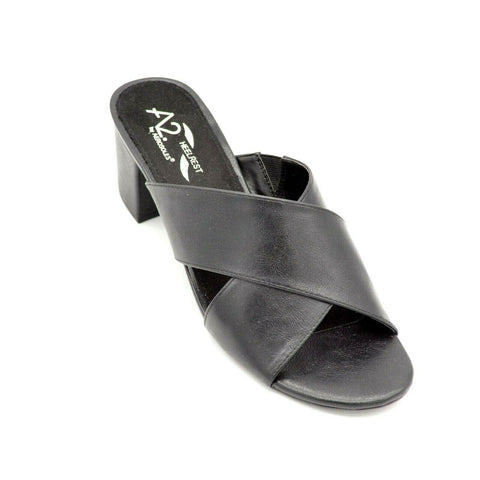 Aerosoles A2 Women's Midday Slide Sandal Black Leather open Toe Block Heel Mule
