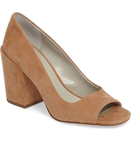 1.State Rianne Desert Nude Peep Toe Bold Block Heel Retro Chunky Dress Pump