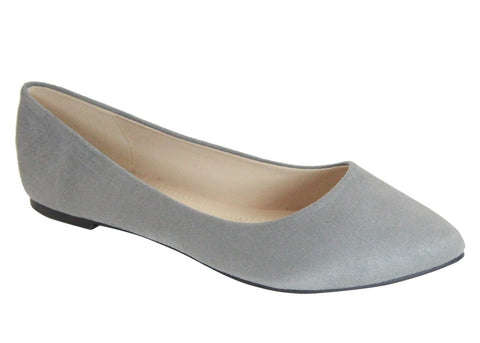 Bella Marie Angie Classic Pointy Toe Ballet Slip On Flats Shoes, Grey Suede